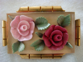 Lucite Roses Brooch on Metal Gallery-1930s to 1940s  (SOLD)